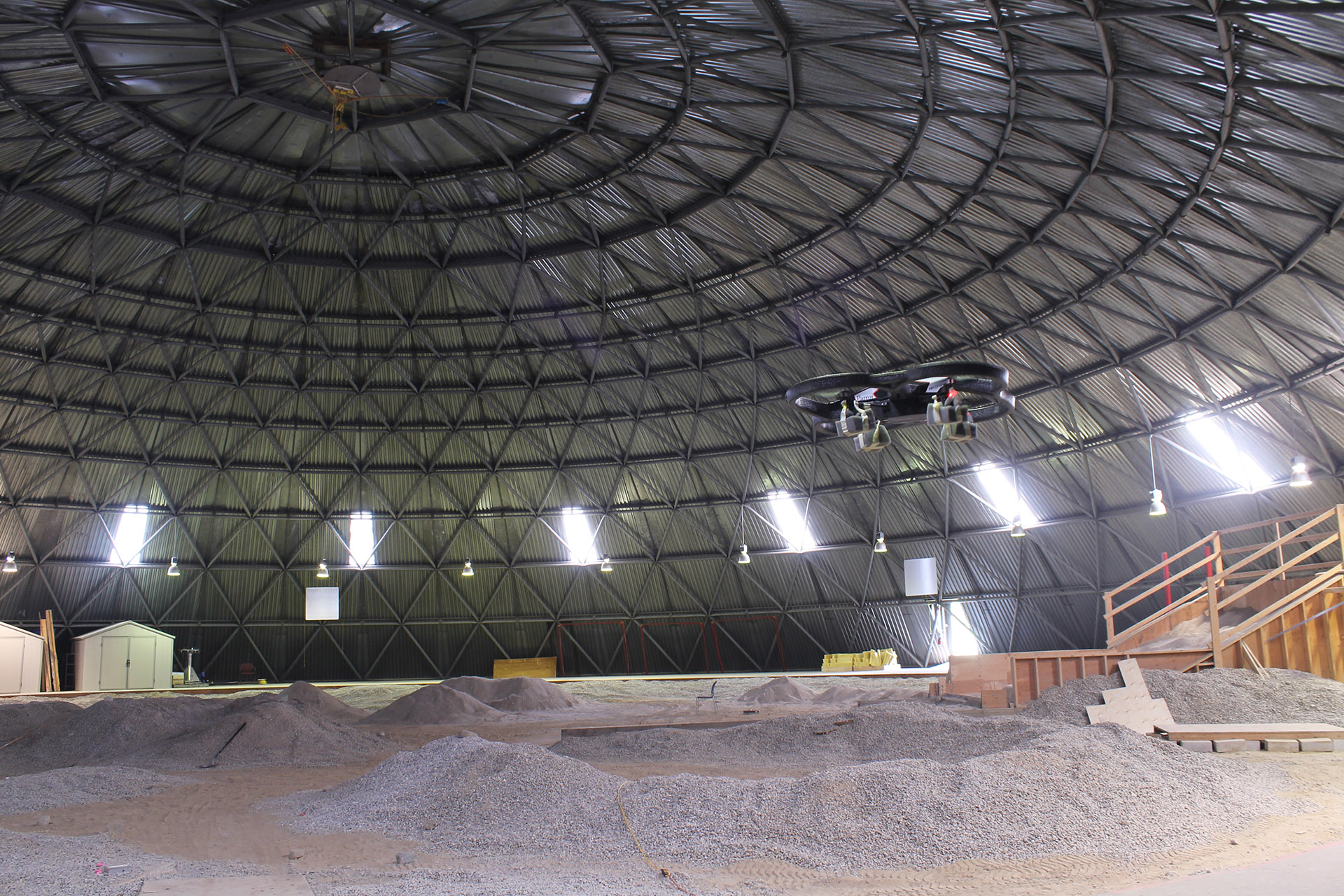 Quadrocopter test in the UTIAS Mars Dome.