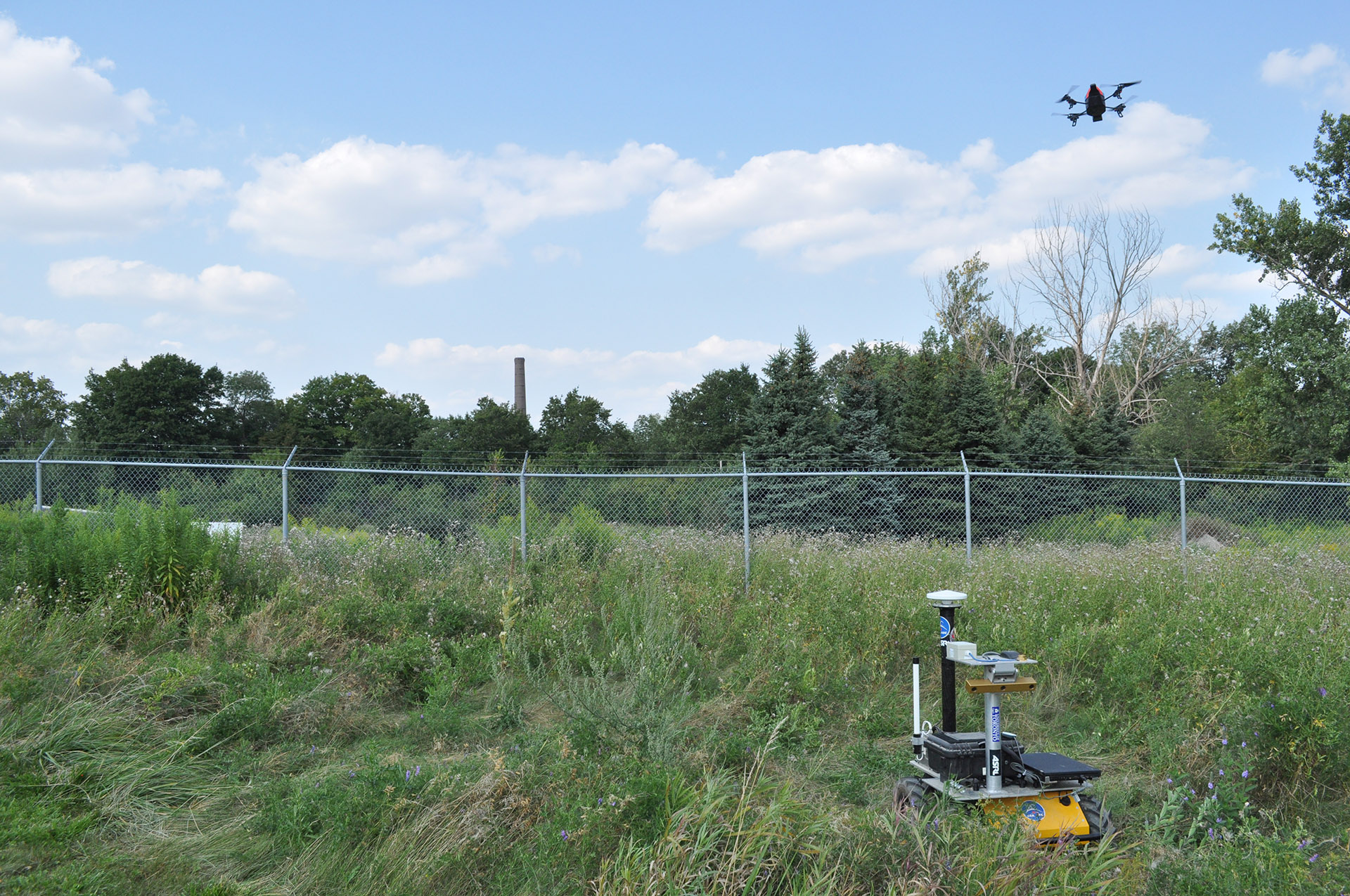 Quadrocopter and Husky robots at UTIAS field tests.
